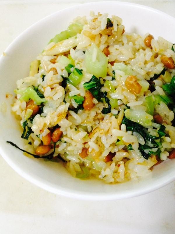 小松菜と納豆のバターチャーハン