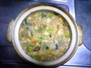 いわし団子と溶き卵のあったか雑炊鍋