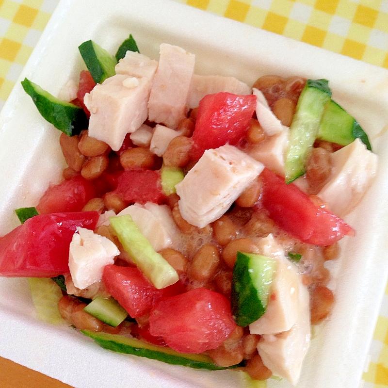 鶏ハムと夏野菜の納豆