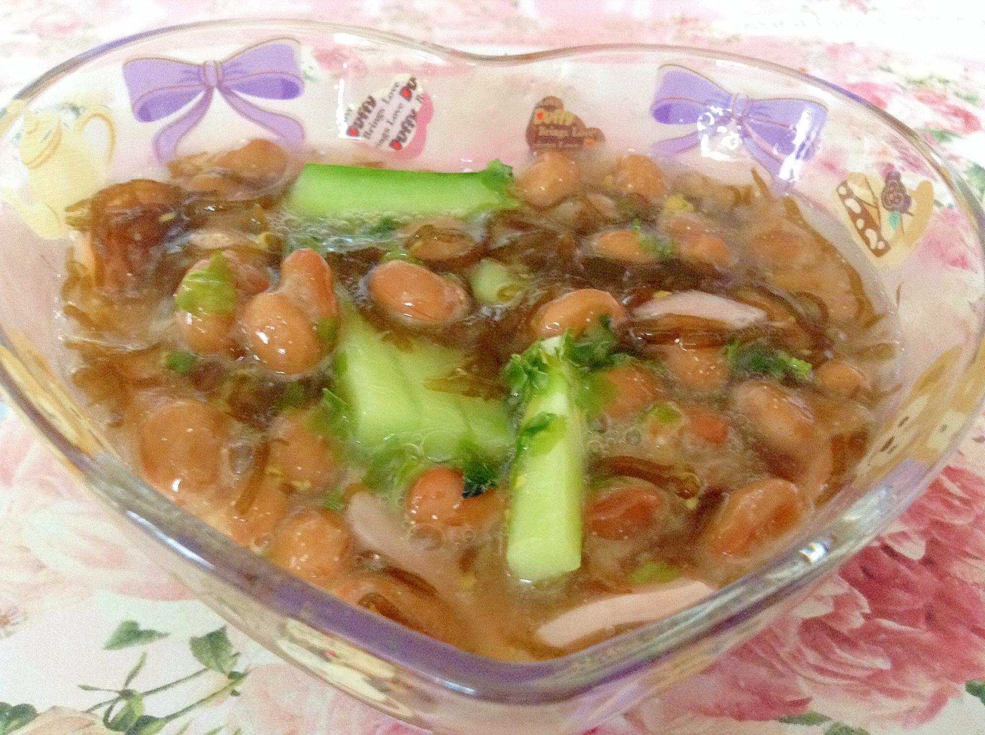 簡単もずく酢で胡瓜とハムと納豆の小鉢