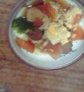 高野豆腐とにんじん、卵の煮物