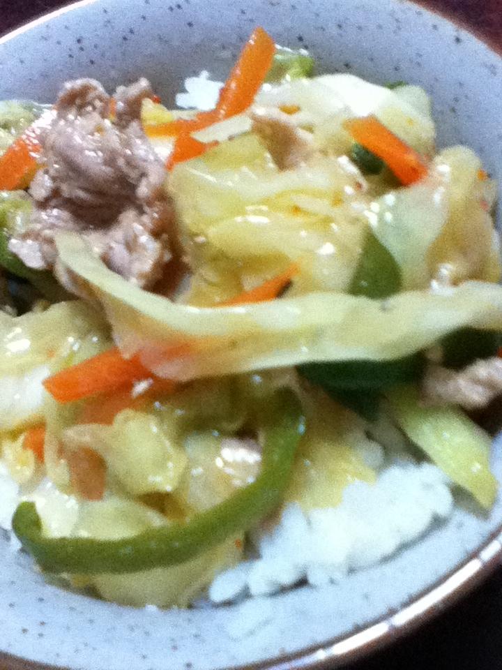 豚野菜炒め丼