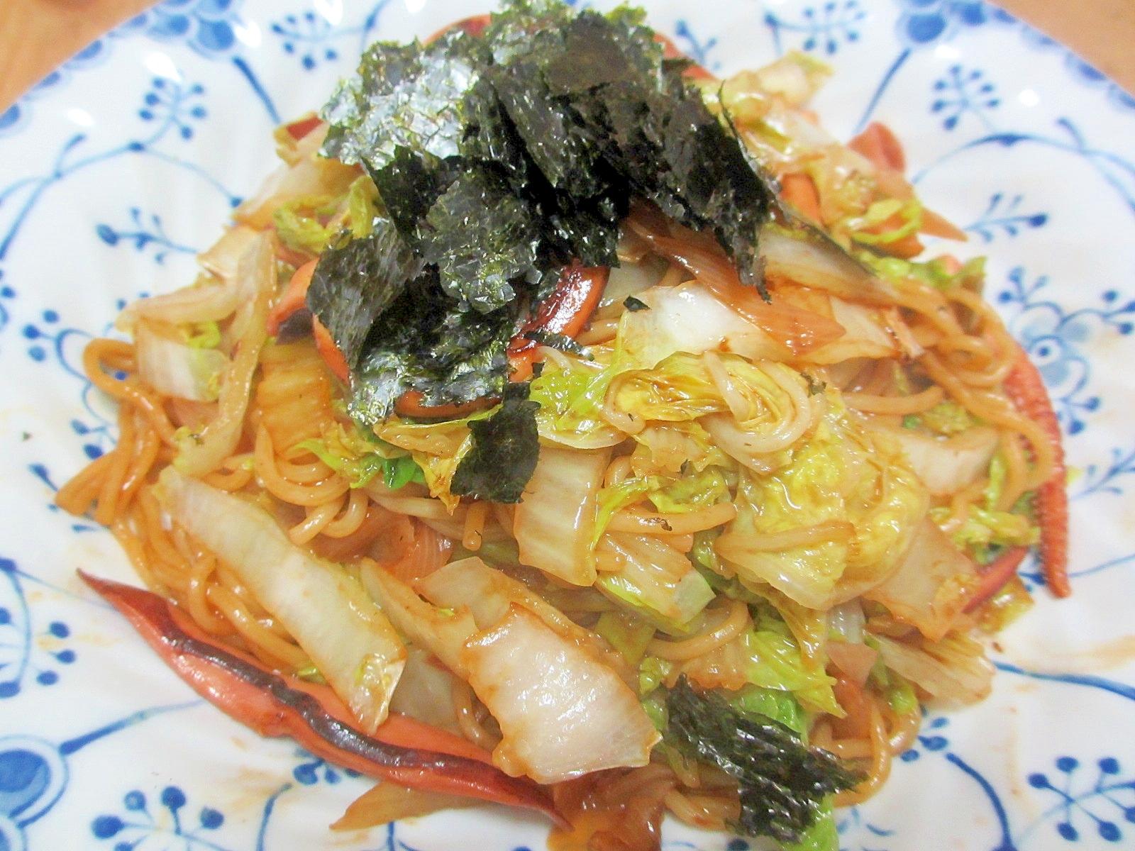 イカと白菜のしょうゆ焼きそば