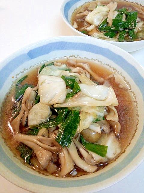 キャベツとマイタケのピリ辛☆中華スープ