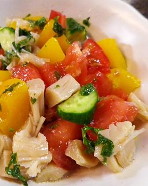 黄桃とホタテの冷やしサラダ