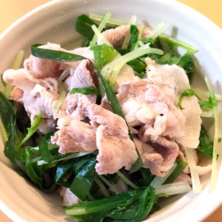 豚肉と、にら水菜のさっぱりポン酢かけ♪ レシピ・作り方 by ゆきのえ|楽天レシピ