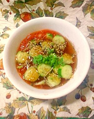 冷やして食べても旨☆潰しトマトのコンソメ野菜スープ
