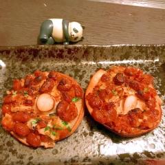ぴり辛ガーリック納豆マヨ焼き椎茸