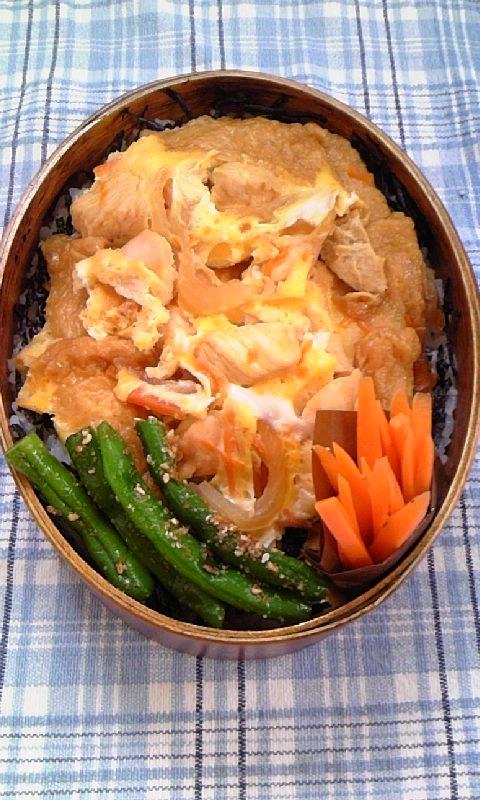 鶏肉と油揚げの卵とじ丼弁当♪