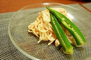 明太子とクリームチーズの冷製パスタ