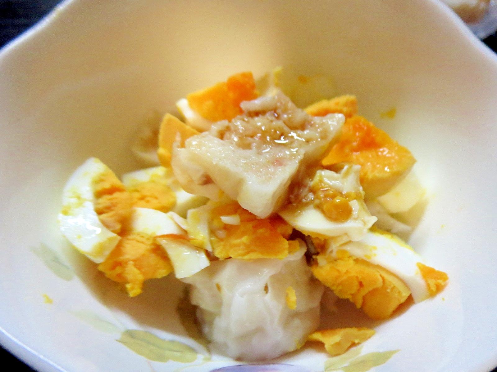 1. シュウマイとゆで卵の胡麻和え