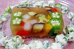 オクラと彩り野菜の寒天冷菜
