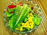 ナメコのマリネと夏野菜サラダ