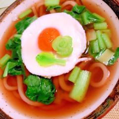 弱った胃腸を労る小松菜入りほうじ茶うどん