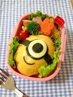 簡単キャラ弁☆バターロールdeミニオンのお弁当♪