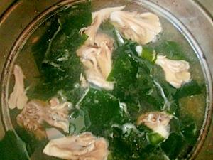 マイタケとわかめのスープ