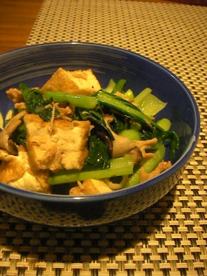 白だしで簡単*ツナと小松菜と厚揚げの炒り煮*