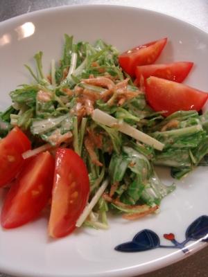 水菜と小エビのオイマヨサラダ