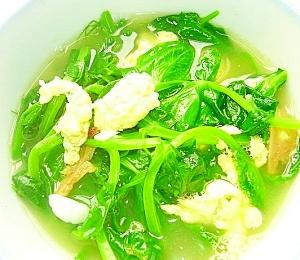 ザーサイ入れ卵、豌豆苗スープ