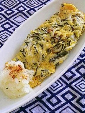 カルシウムたっぷり、シラスとひじきの卵焼き