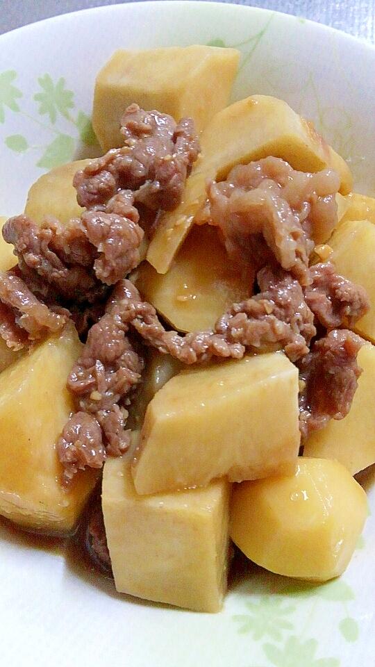里芋と牛肉の甘辛味噌醤油煮