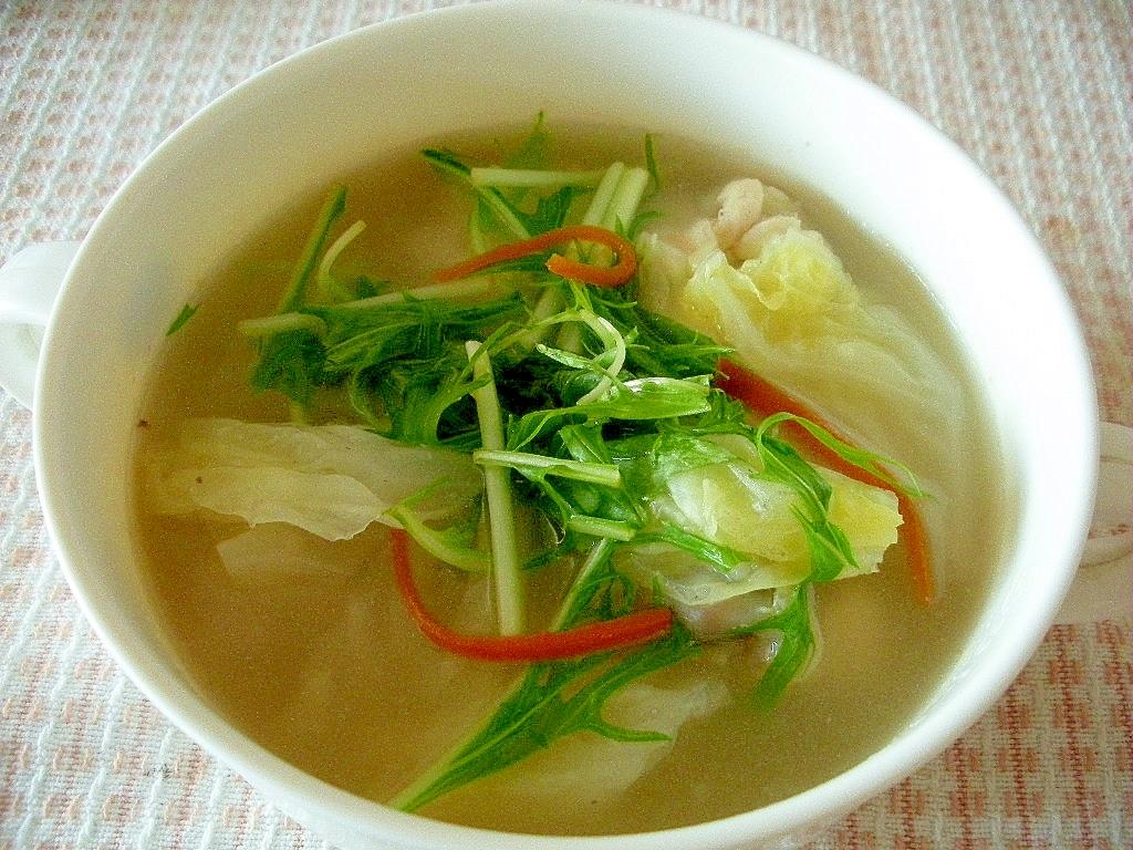 野菜たっぷり!水菜とまいたけの中華スープ