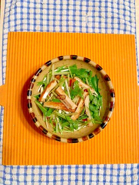 竹輪と水菜のサラダ♪