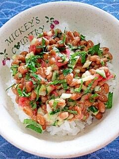 納豆の食べ方-紅生姜&きゅうり♪