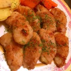 洋梨の豚肉巻き蕎麦粉ソテー