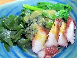 ニラとワカメと蛸の辛子酢味噌がけ