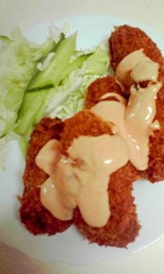 牡蠣フライをオーロラソースで食べる
