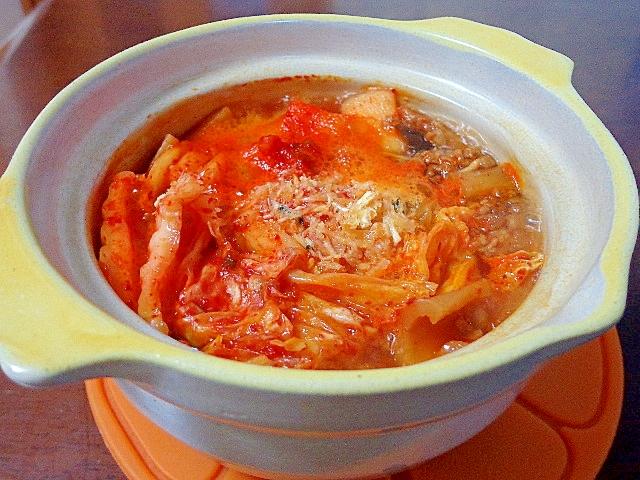 お野菜食べた~白菜キムチとキャベツの一人鍋