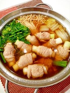 ねぎ豚巻きで☆風邪知らずの健康鍋。~生姜スープ~