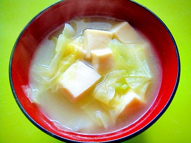 高野豆腐とキャベツの味噌汁
