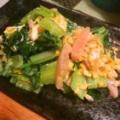 甘酢生姜とターサイの三色卵炒め