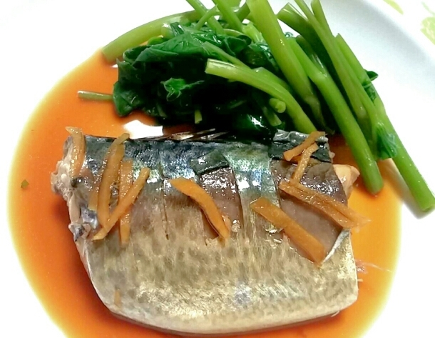 サバのすっぱ煮☆空心菜を添えて