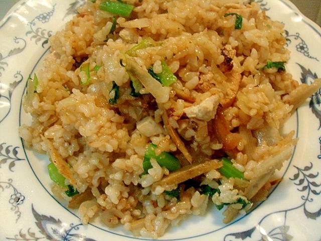鶏牛蒡&小松菜の和風玄米チャーハン