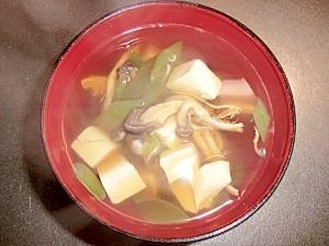 ひらたけしめじと豆腐のお吸い物