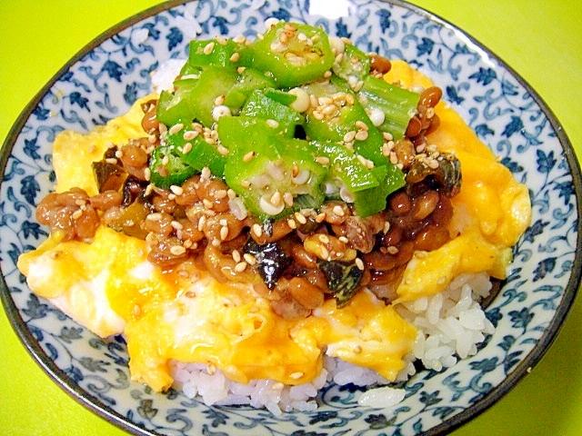 きゅうりのキューちゃんとオクラのふわたま納豆丼