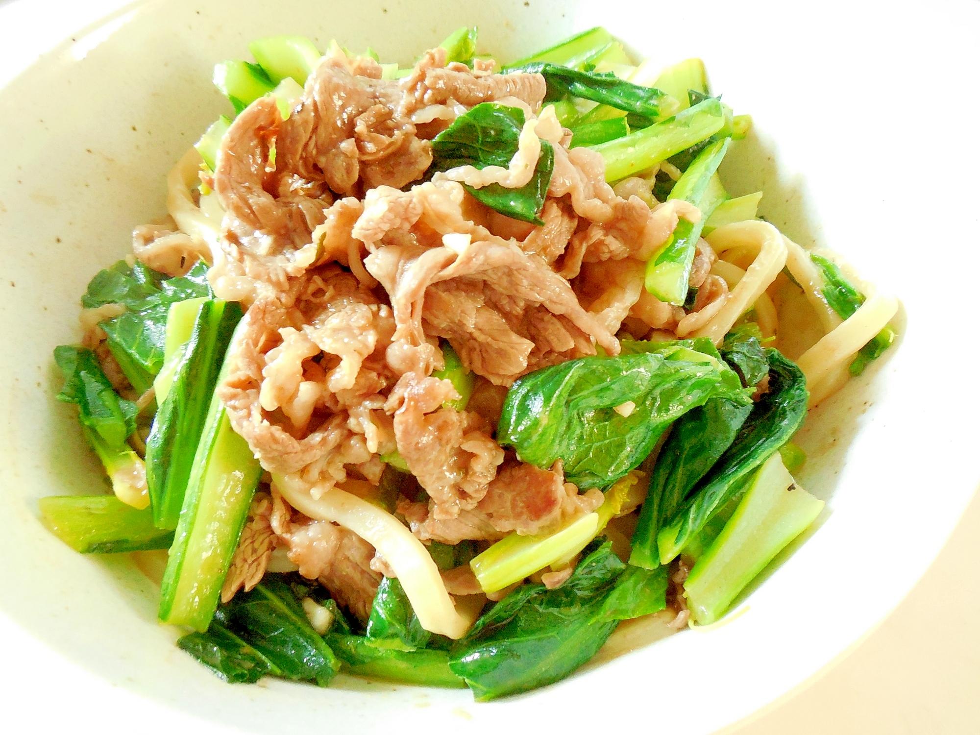 牛肉と小松菜の焼きうどん