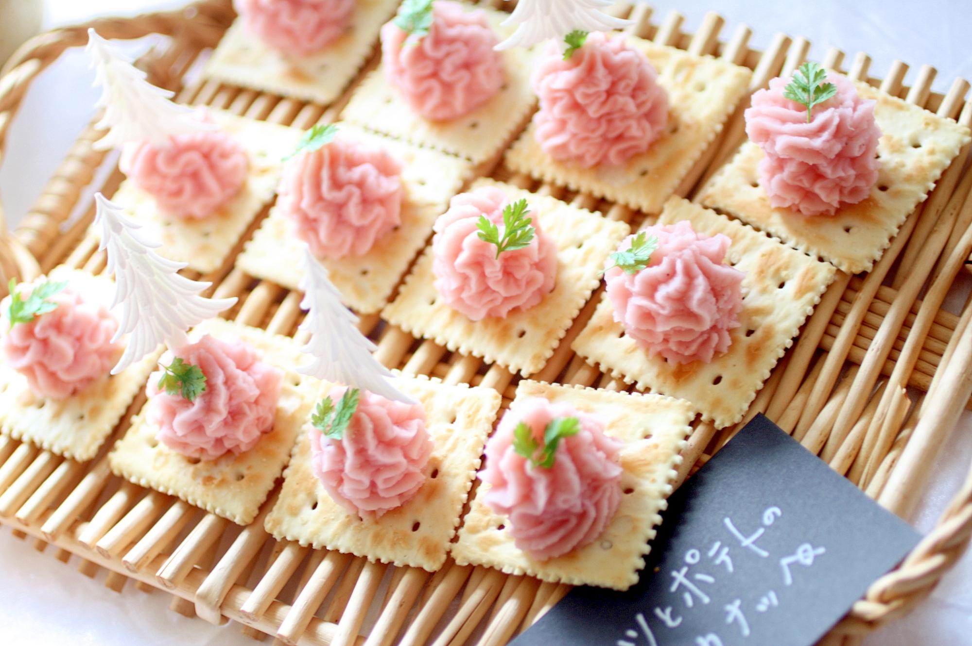 簡単!可愛いピンクのポテトのXmasカナッペ