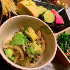 ツナと高菜のアボカドきのこサラダ