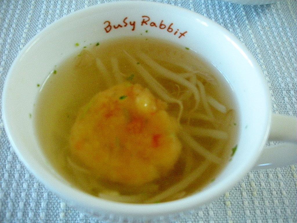もやしとイモ団子入り中華風ごぼうスープ♪