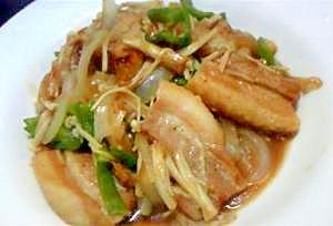 豚バラとエノキの牡蠣油炒め焼き