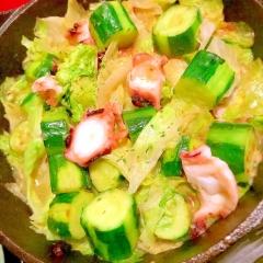 イカと胡瓜とレタスのつゆだくスイチリ炒め