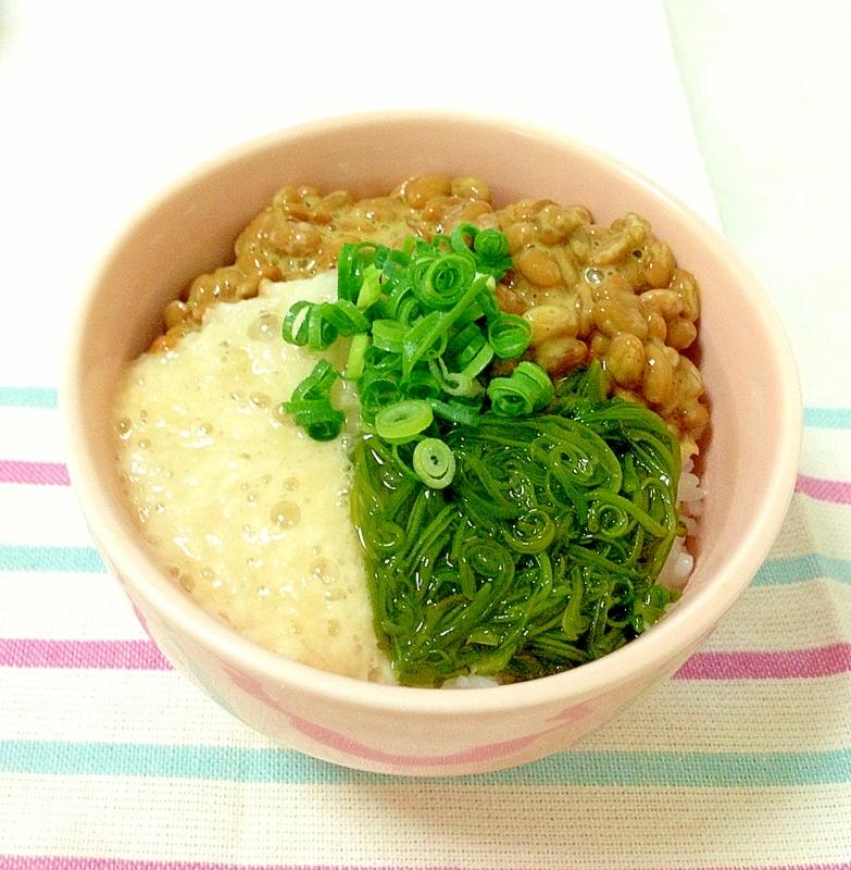 簡単&栄養満点☆夏のネバネバ3色丼
