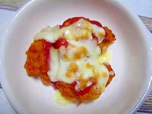唐揚げのケチャップチーズ焼き