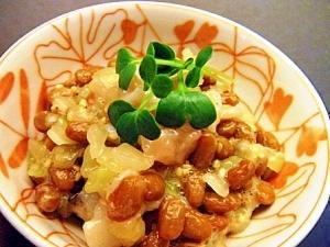食感がイイ♪タコ&キャベツの芯で納豆和え