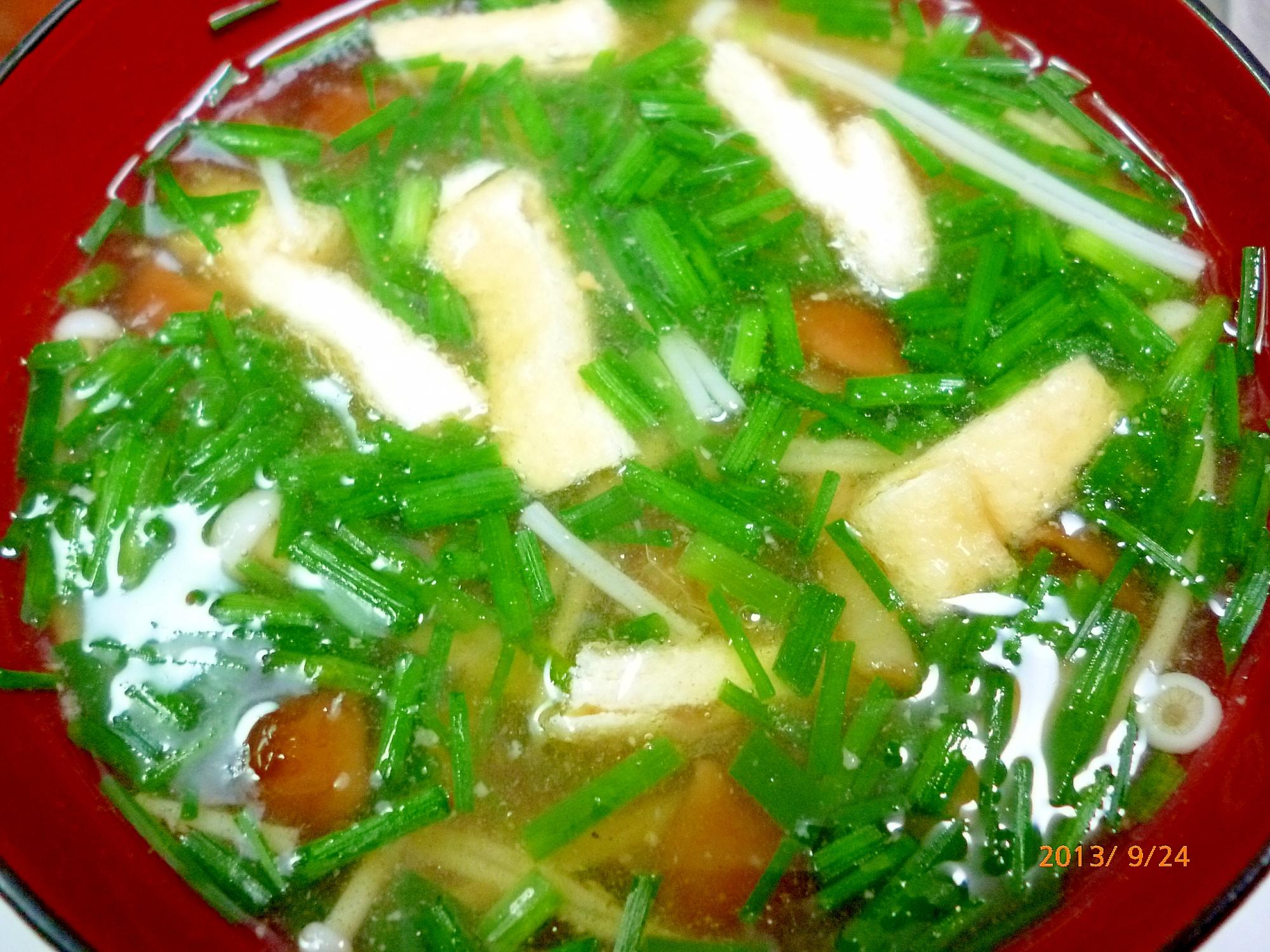 なめこ・えのき・油揚げ・小葱の味噌汁