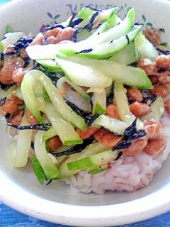 納豆の食べ方-キュウリ&しそひじき♪